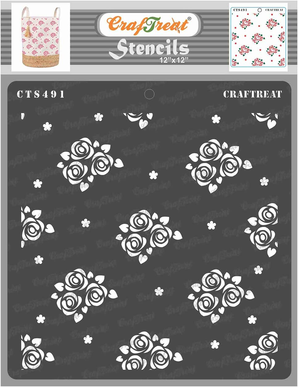 CrafTreat Wall Pattern Stencils for Painting on Wood, Tile, Canvas, Paper, Fabric and Floor - Mini Rose Background Stencil - 12x12 Inches - Reusable DIY Art and Craft Stencils Pattern for Painting