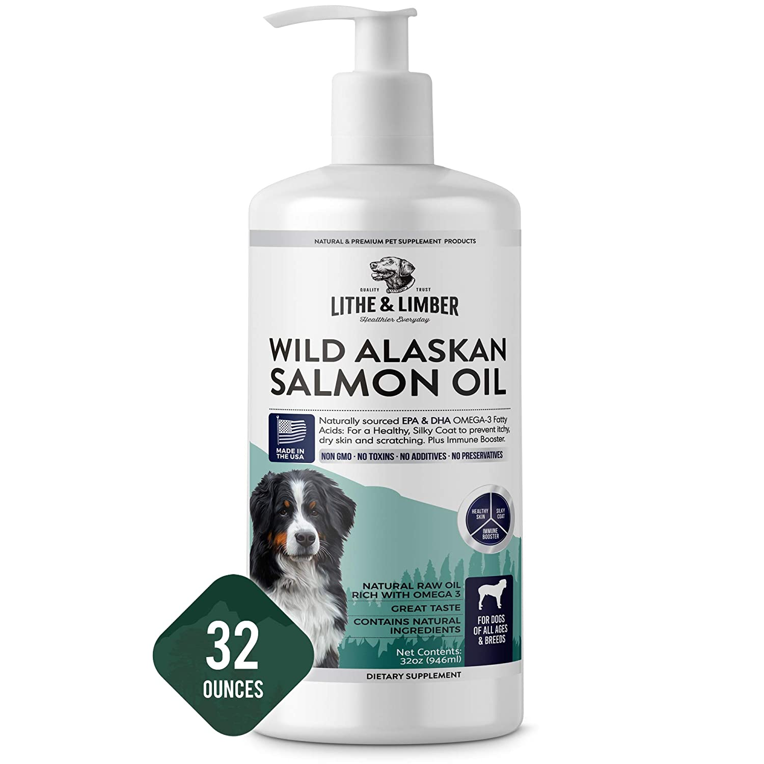 Lithe Limber New Developed Formula Salmon Oil for Dogs – Rich with Omega-3 Omega-6 Fatty Acids to Help with Allergies, Itching Dry Skin – Made in USA – 32oz