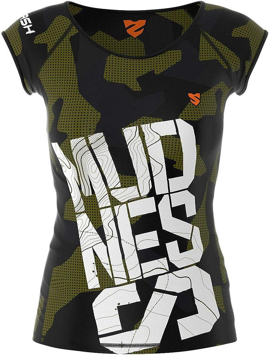 Gym M Sport Funktionsshirt f/ür Crossfit Antibakterielles Material Hergestellt in der EU Atmungsaktiv und Leicht SMMASH Vitrage Commando Damen Compression Funktionsshirt Kurze