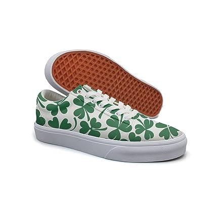 62309846d49ef Amazon.com: Mandimou Womens Lucky Clover Shamrock Lace Canvas Shoes ...