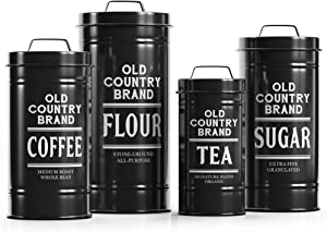 "Barnyard Designs Decorative Nesting Kitchen Canister Jars with Lids, Black Metal Rustic Vintage Farmhouse Container Decor for Flour Sugar Coffee Tea Storage, Set of 4, Largest is 5.5"" x 11.25"""