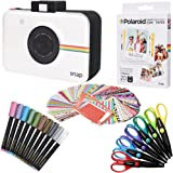 Polaroid 3.5 x 4.25 inch Premium ZINK Photo Paper (20 Sheets) + Snap Scrapbook + 100 Photo Border Stickers + 10 Markers + 6 Colorful Edge Scissors (Compatible With Polaroid POP)