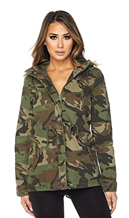 1e0756394f73e Amazon.com  SOHO GLAM Women s Camouflage Hooded Parka Jacket (S-L ...