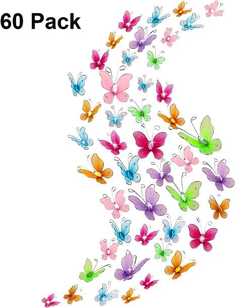 5 Large Floral Wooden Butterflies Card Making Scrapbook Craft Embellishments