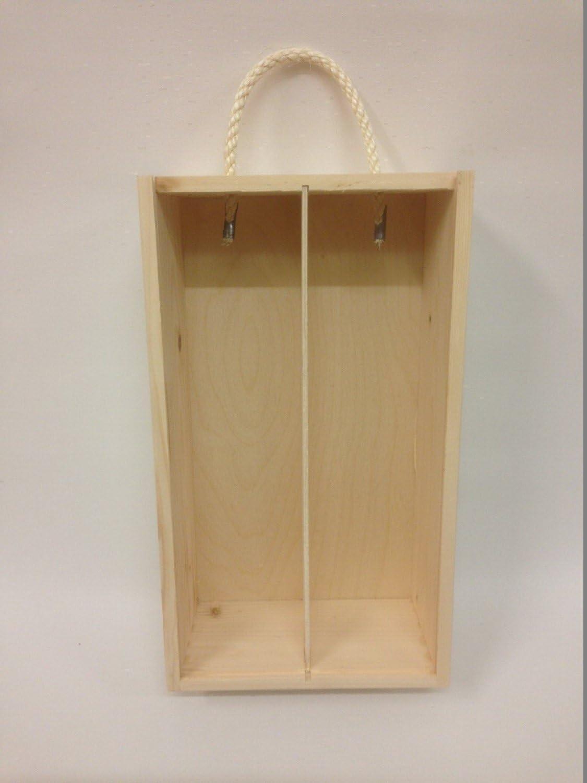Caja de madera para el vino con tapa deslizante y cuerda Souvenir Día de la Madre Navidad Regalo - 2 botellas - 35x 21x 11cm: Amazon.es: Hogar