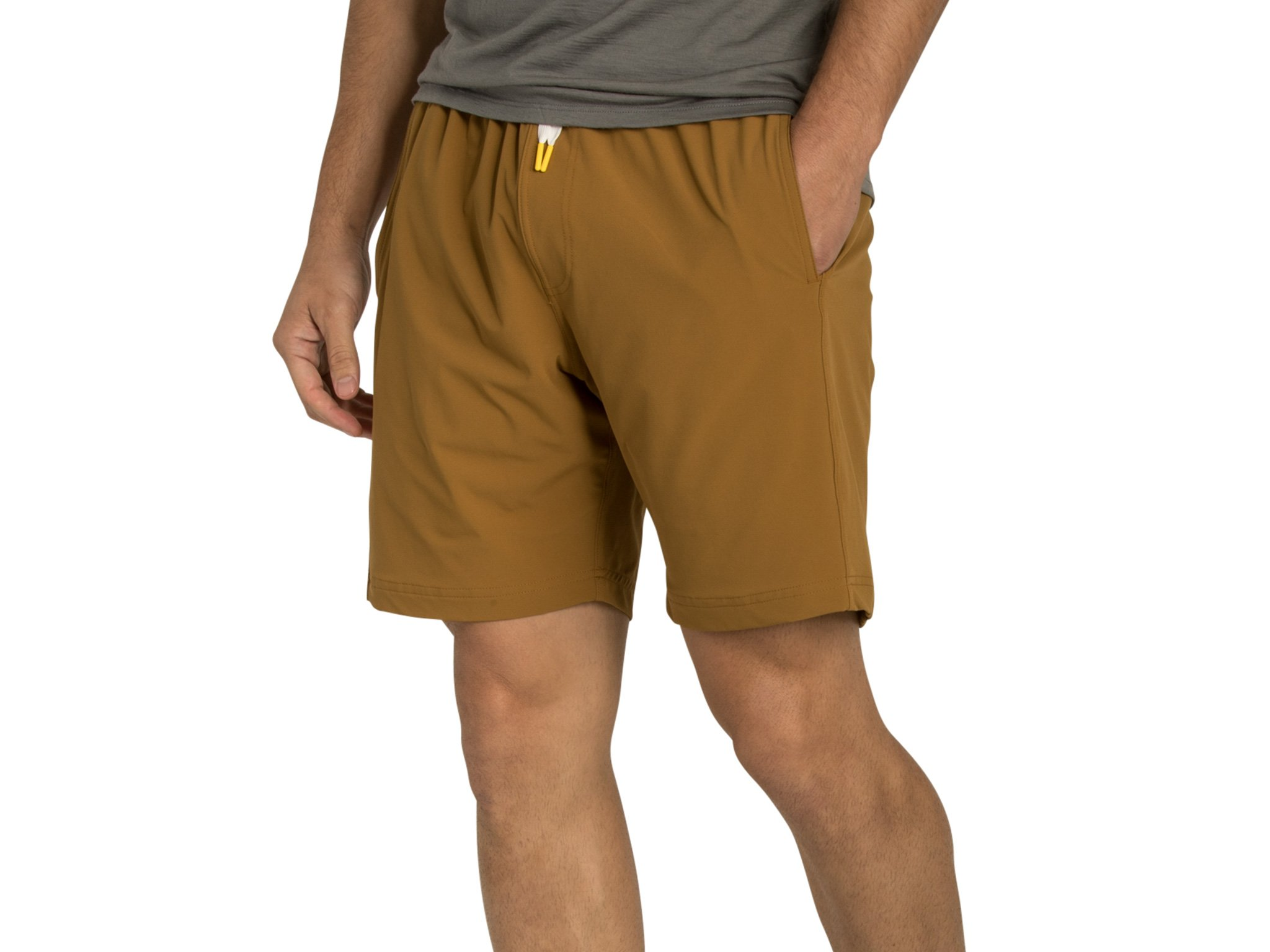 OLIVERS Apparel, Mens Water Repellent, 4-Way Stretch, All Over Short. Perfect Running, Yoga Weightlifting - (Copper, Extra Large)