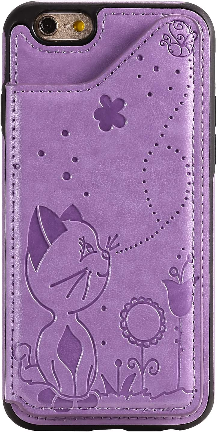 Cfrau Wallet Case with Black Stylus for iPhone 6S,Stylish 3D Cat Bee Flower Print PU Leather Soft Bumper Reinforced Drop Resistant Shockproof Stand Card Holder Case for iPhone 6//6S,Purple