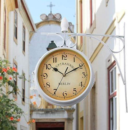 Samger Samger Reloj de Doble Cara Jardín Tren Estación Reloj de Pared con Soporte (Blanco): Amazon.es: Hogar