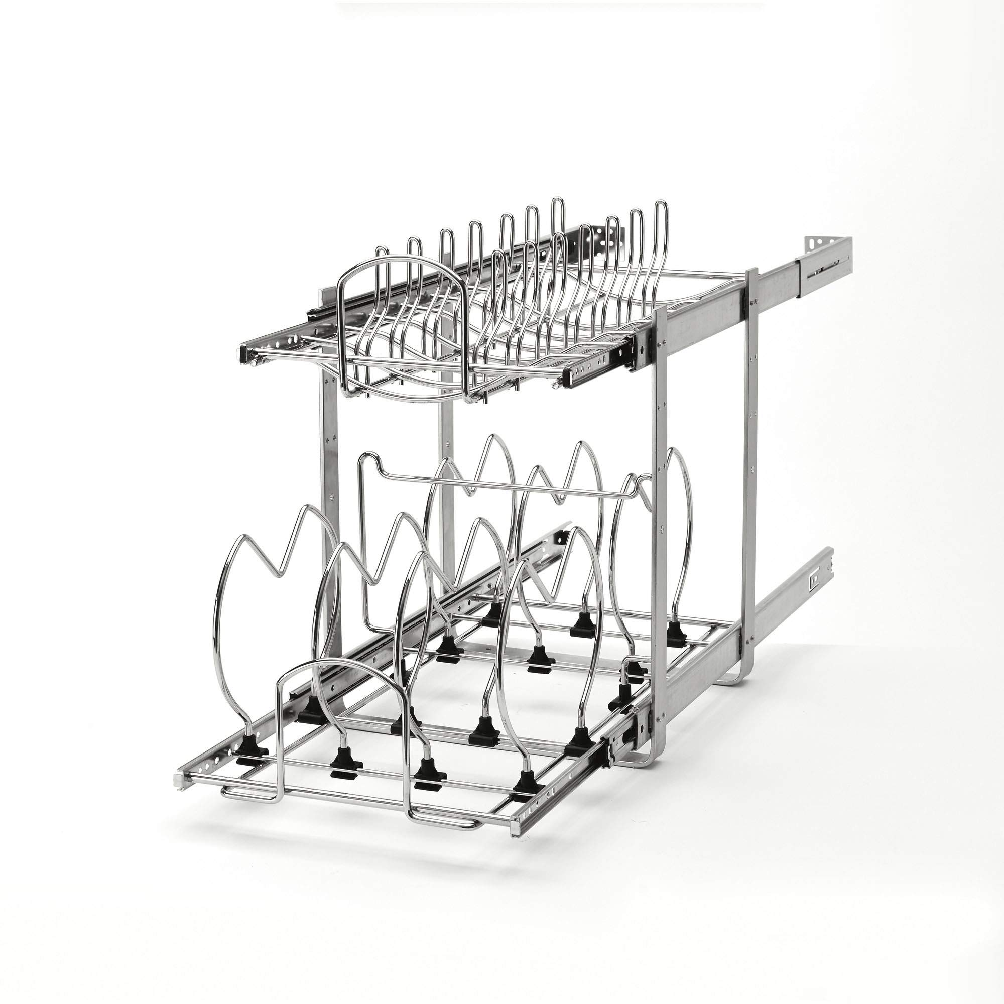 Rev-A-Shelf 5CW2-1222-CR Base Cabinet Easy Pullout 2 Tier Cookware Organizer by Rev-A-Shelf