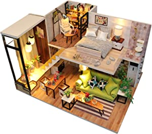 La Petite Maison Miniature DIY Wooden Dollhouse Kit with Furniture Nordic House Eco Friendly 1:24 Scale. LED Lights, Music, and Dust Covers Included!