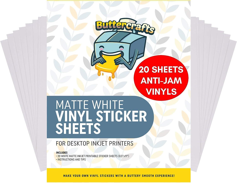 Printable Vinyl for Inkjet Printer (Matte White | Waterproof | 20 Sheets) - Inkjet Printable Vinyl Avoid Jams for Printers | Printable Waterproof Vinyl Sticker Paper for Cricut and Silhouette