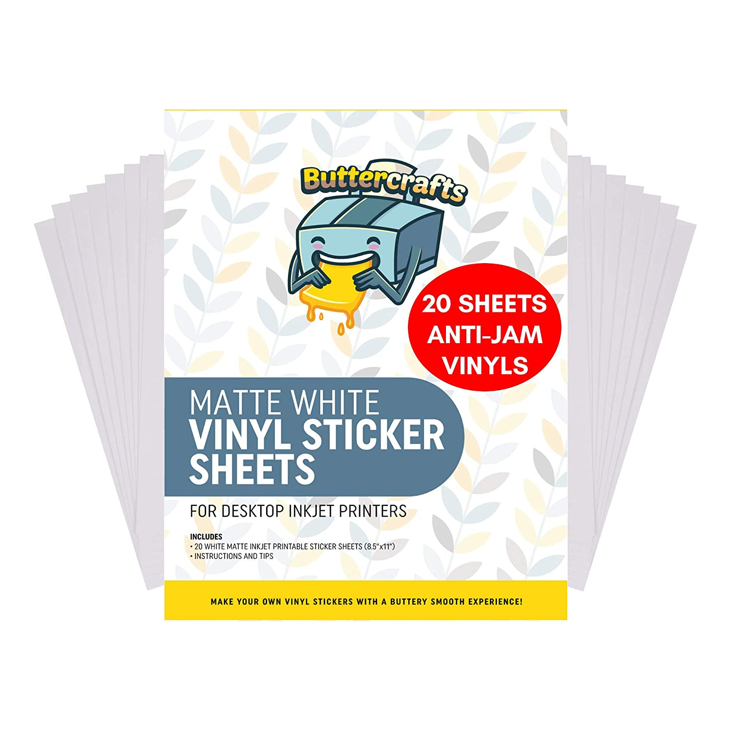 Printable Vinyl for Inkjet Printer (Matte White | Waterproof | 20 Sheets) - Inkjet Printable Vinyl Avoid Jams for Printers | Printable Waterproof ...