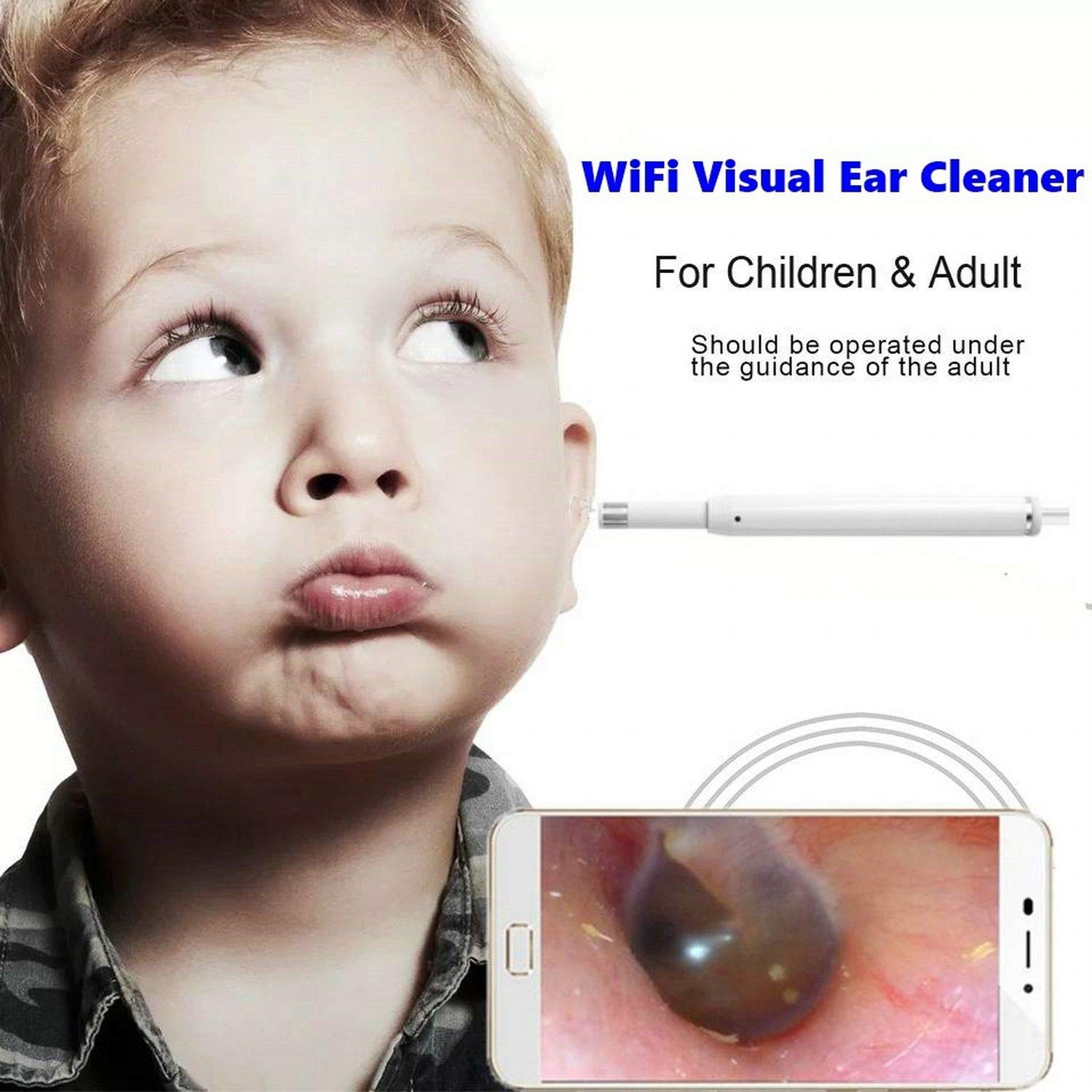 ICARINUS Portable WiFi Visual Ear Cleaner,Earwax Removal Tool Kit,Ear Wax Cleaner,Earwax Remover Soft Prevent Ear Pick Clean Tools Set for Adults Kids