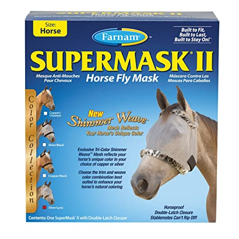 Farnam SuperMask II Shimmer Weave Horse Fly Mask, Horse size, Silver Mesh with Lynx