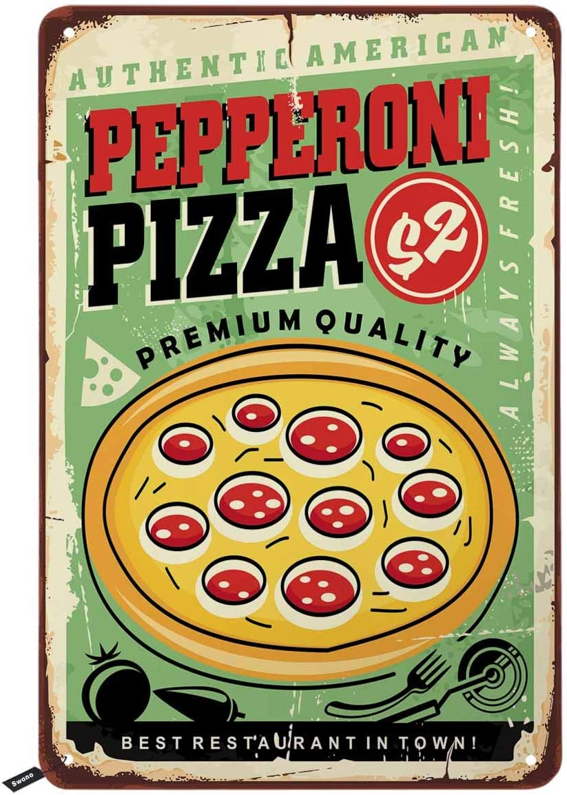 Swono American Pepperoni Pizza Tin Signs,Pizzeria Fast Food Delicious Pizza Vintage Metal Tin Sign for Men Women,Wall Decor for Bars,Restaurants,Cafes Pubs,12x8 Inch