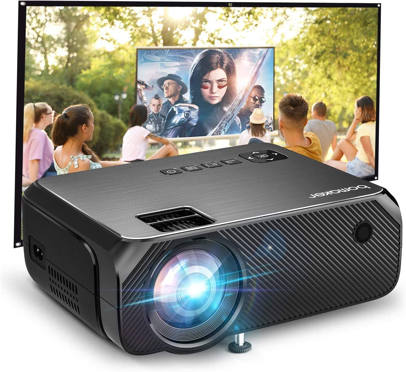 BOMAKER 720P WiFi Projector 6000 lumens 300 inches
