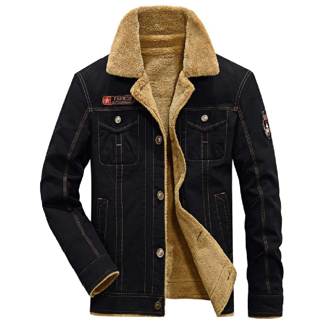Vska Men Velvet Turn-Down Collar New Military Button Down Parka Jacket Coat