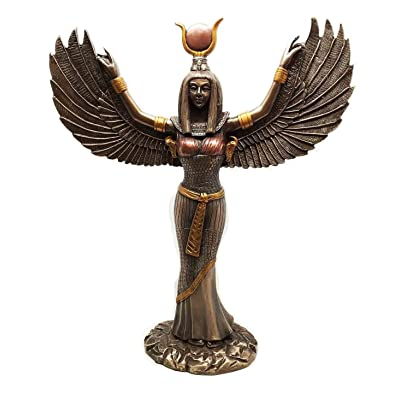 "Ebros Gift Egyptian Goddess Isis Ra with Open Wings Statue 12"" Tall Deity of Motherhood Magic Wisdom and Nature Home Decorative Sculpture Gods of Egypt Accent (Bronze Patina): Home & Kitchen"