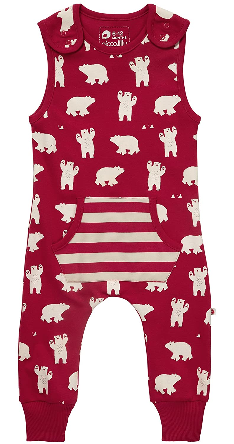 Piccalilly Organic Cotton Jersey Red Unisex Polar Bear Dungarees OC-1229A