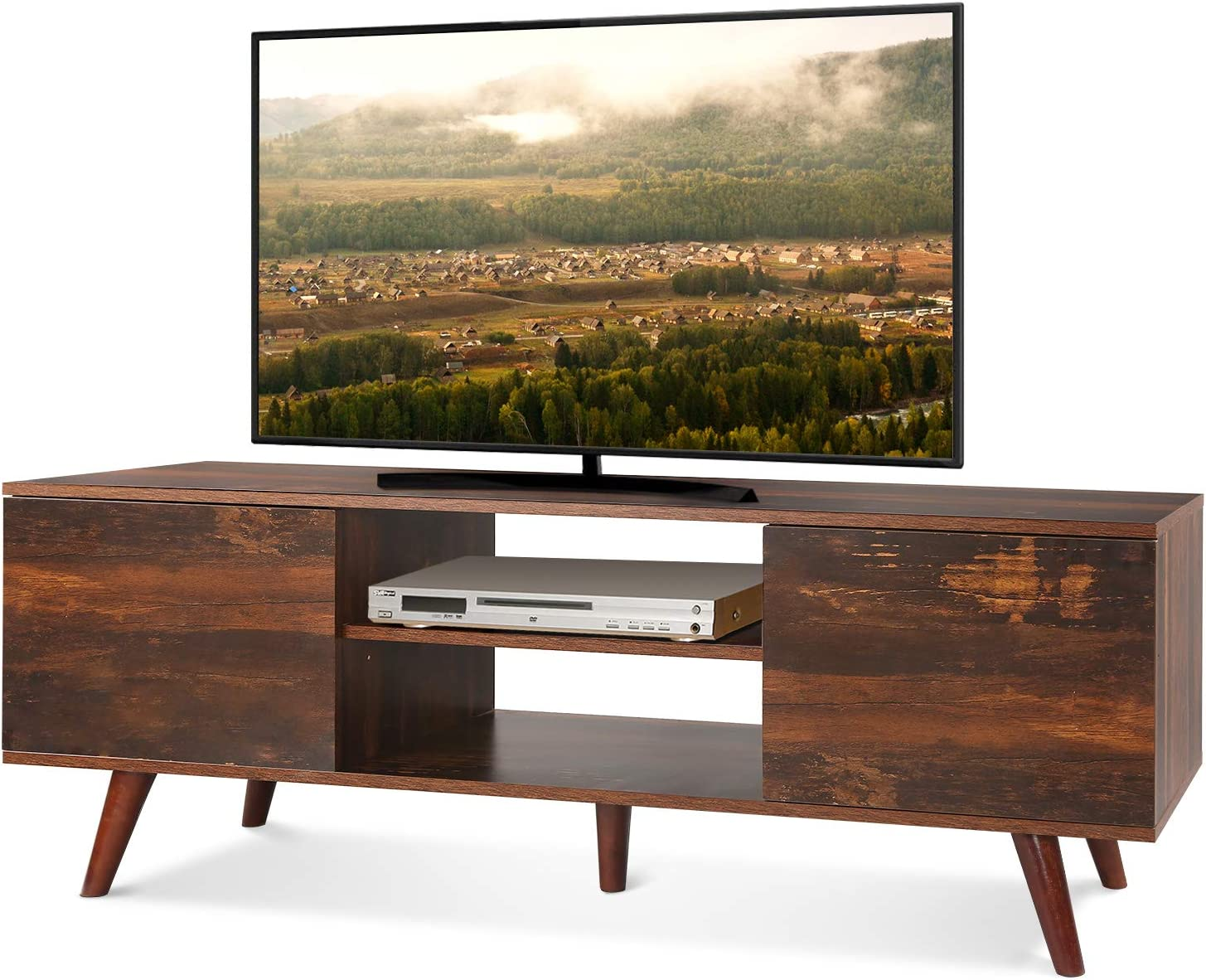 """WLIVE Mid-Century Modern TV Stand for 55"""" TV, TV Console, Retro Entertainment Center in Living Room, Entertainment Room, Office, Rustic O9 Oak"""