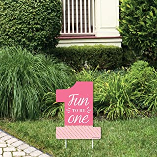 product image for Big Dot of Happiness 1st Birthday Girl - Fun to be One - Outdoor Lawn Sign - First Birthday Party Yard Sign - 1 Piece
