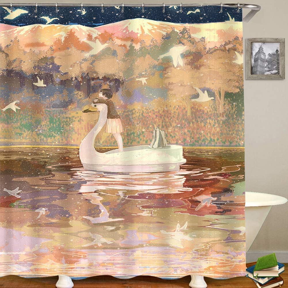 Cortina de baño, niña en un bote con forma de cisne contra el telón de fondo de las montañas y pájaros blancos volando en el cielo, tela de poliéster Cortinas de baño impermeables Ganchos incluidos