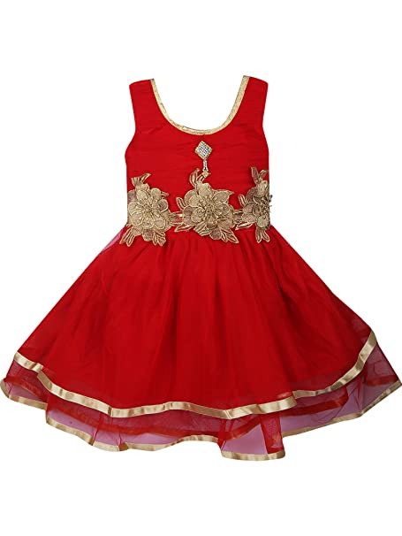 4cfe2686c Aarika Big Girls  Party Wear Net Frock 7-8 Years Red  Amazon.ca ...