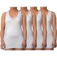 BestSale247 4 - Camiseta interior para mujer (8 unidades, extralarga con bonita encaje de 100% algodón peinado, sin…