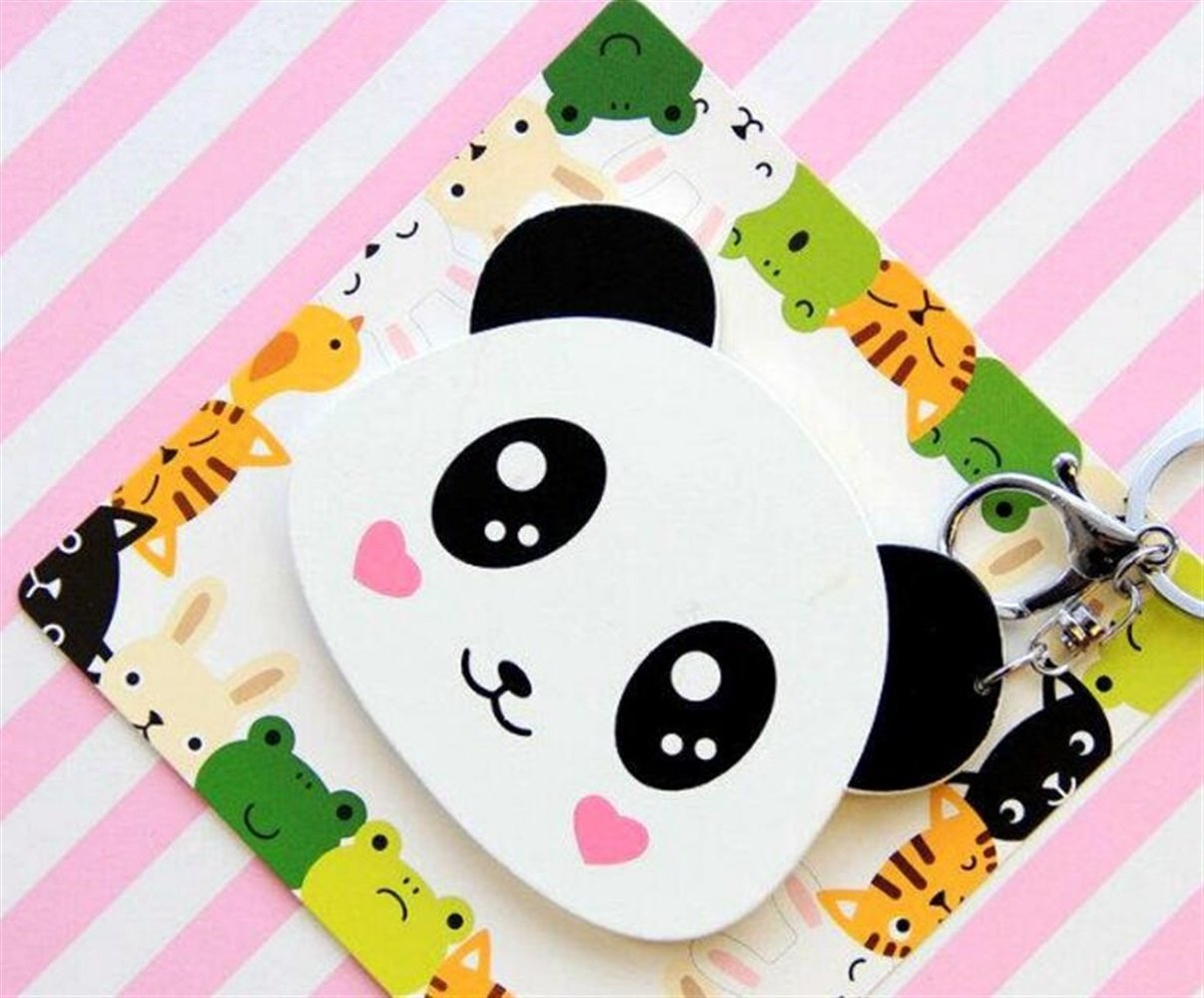Yingealy Childrens Mirror Mini Cartoon Panda Shape Pattern Small Glass Mirrors Circles for Crafts Decoration Cosmetic Accessory