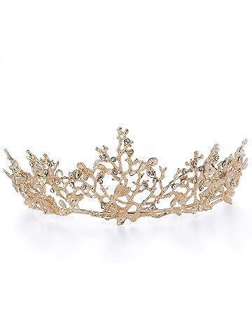 Handcess Mariage Tiare Couronne et feuille dor Baroque Queen Princesse Bandeau pour mari/ée femmes et filles
