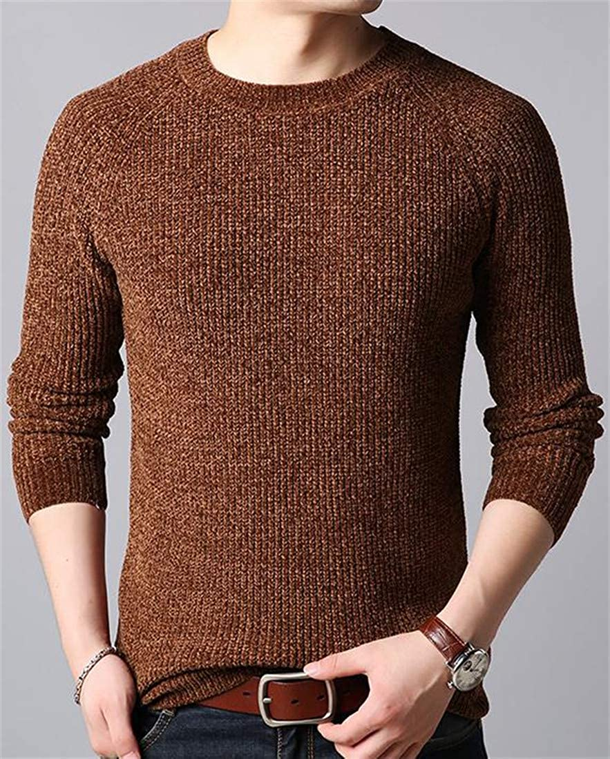 Cromoncent Mens Warm Autumn Round Neck Raglan Sleeve Pullover Knitted Sweater