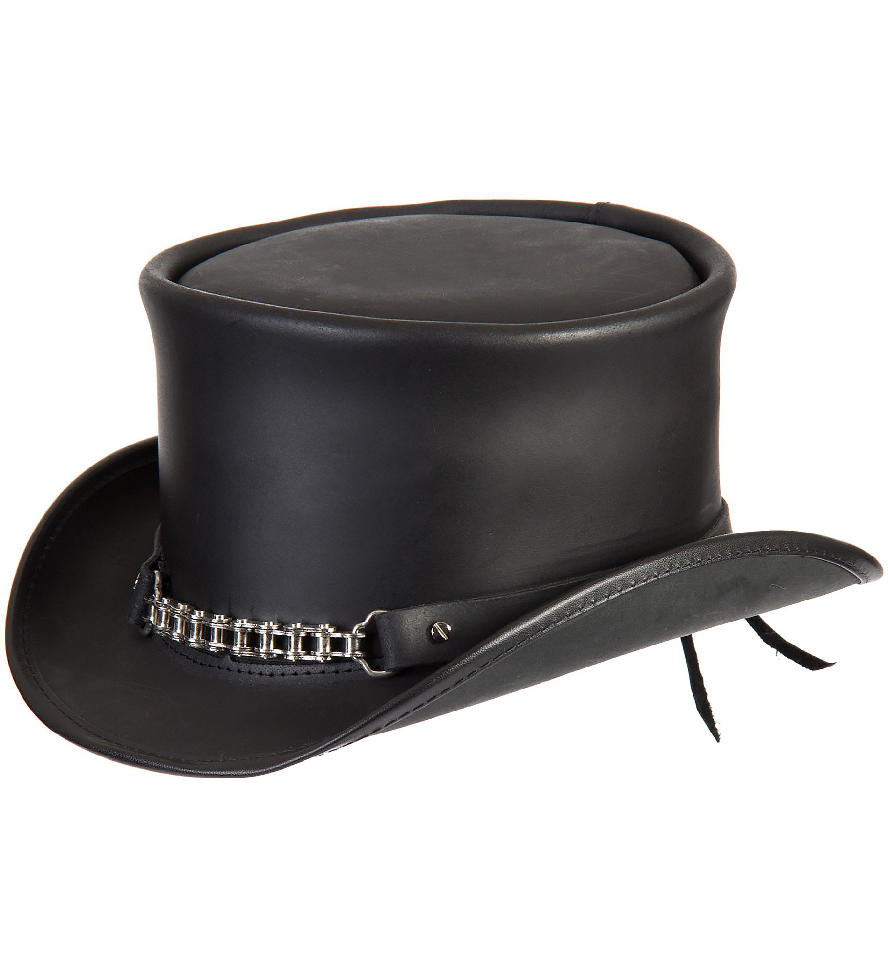 Steampunk El Dorado Leather Top Hat, Black, Size Medium/Large (7 1/8–7 1/4)