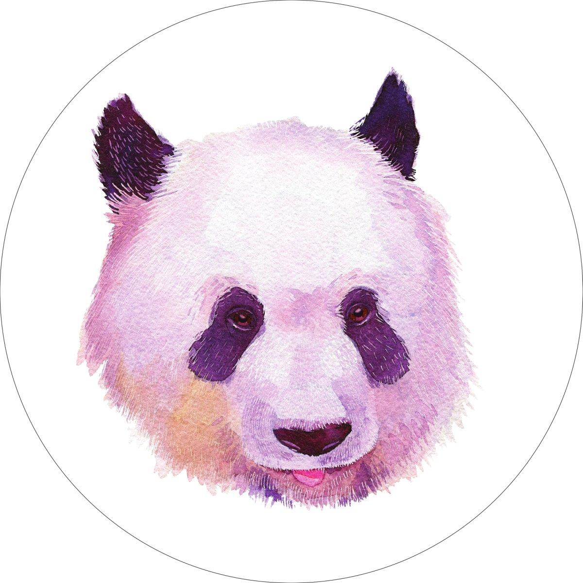 Panda Home Wall Shelf Decor Animal Decorations Watercolor Round Sign - 18 Inch, Metal