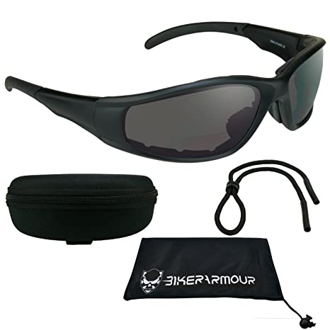 3a0ee6bca6ef Amazon.com: Motorcycle bifocal sunglasses +2.50 Foam Padded Z87 Safety  Lenses with Zipper Hard Case and Sunglass String: Automotive