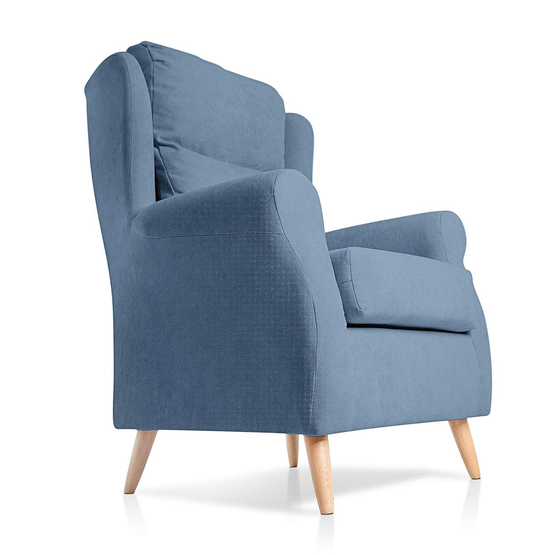 SUENOSZZZ - Sillón orejero, Patas nordicas de Madera. Sillón Dulce tapizado en Tela Antimanchas acualine Color Azul. Sillon para Dormitorio o Salon | ...