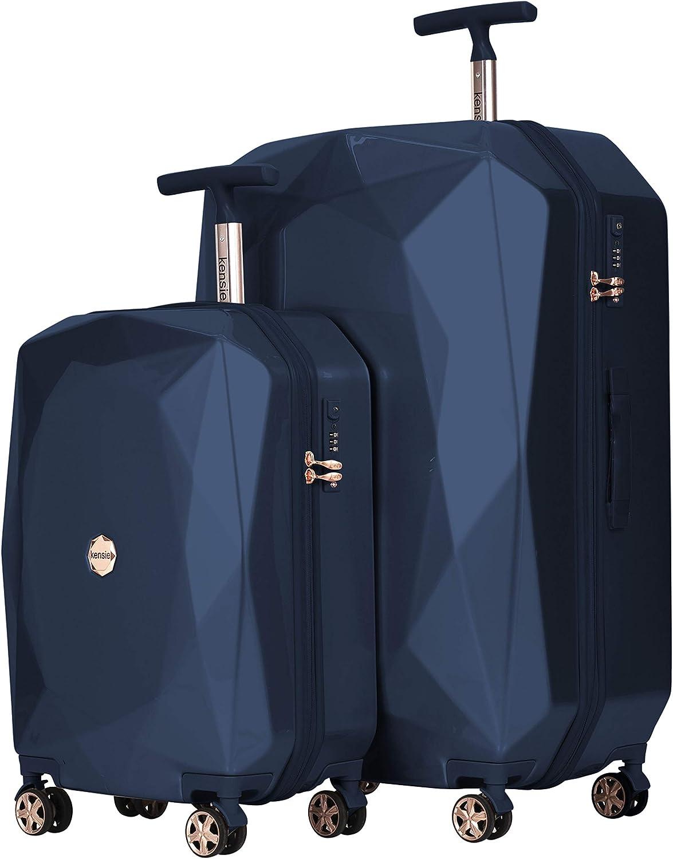 kensie Women's 3D Gemstone TSA Lock Hardside Spinner Luggage, Midnight Blue, 2 Piece Set (28