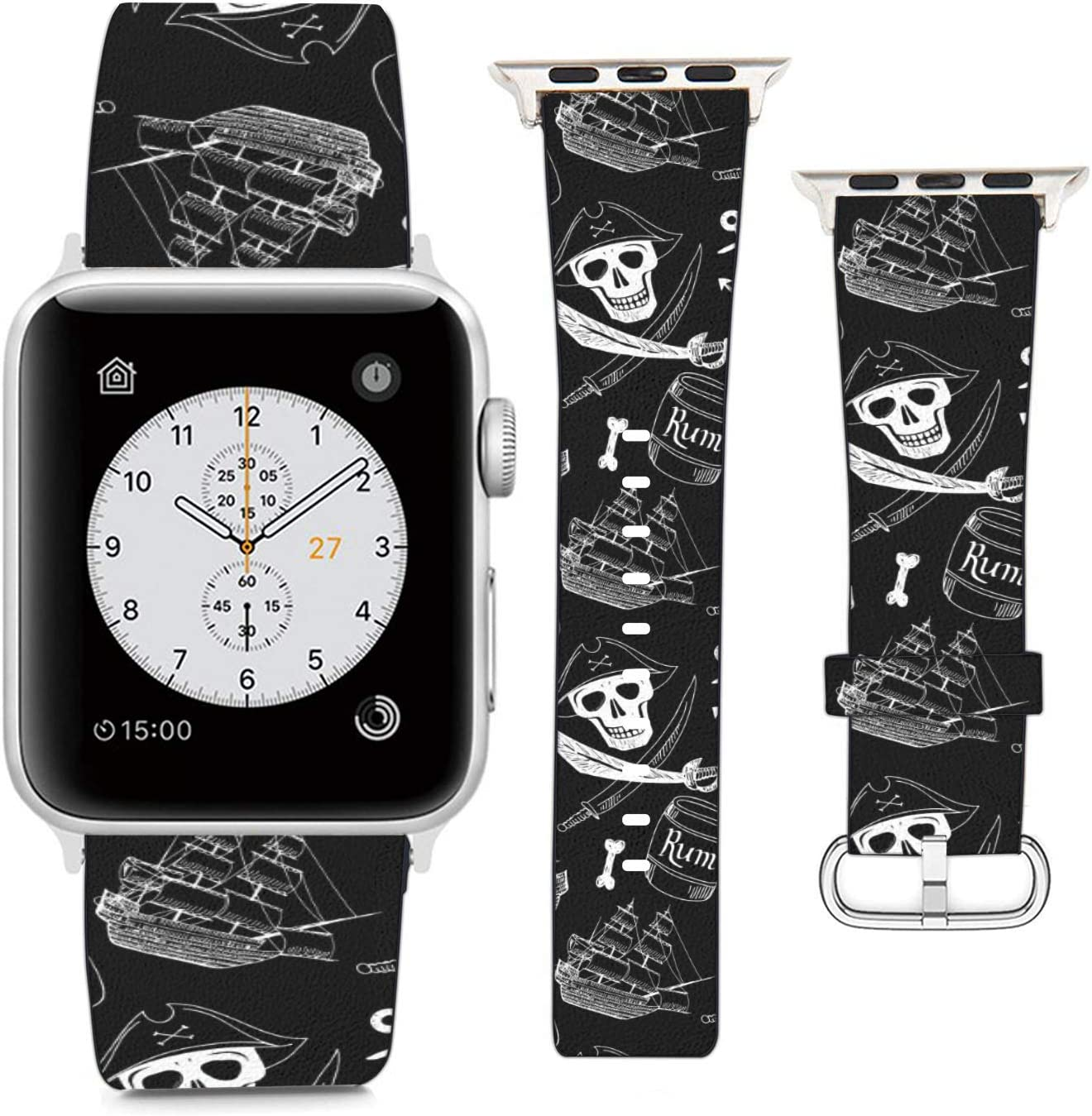 Compatible with Apple Watch Wristband 38mm 40mm, (Pirate Design Elements in Vintage Style) PU Leather Band Replacement Strap for iWatch Series 5 4 3 2 1