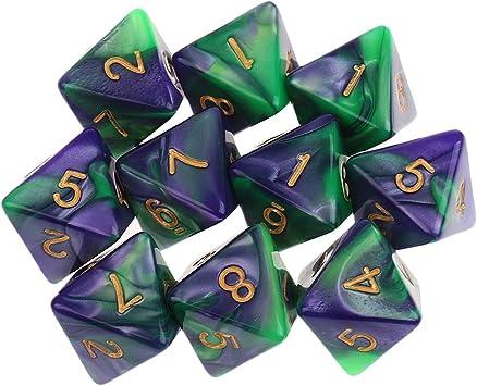 Hellery Dados Poligonales D8 De 10x8 Caras para Juegos De Mesa De Mazmorras Y Dragones - púrpura Verde: Amazon.es: Juguetes y juegos