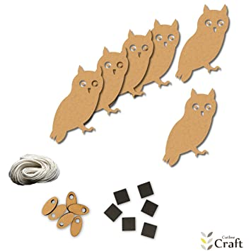 owl bird wise nocturnal night wood shapes craft kit kids project wood shape pack