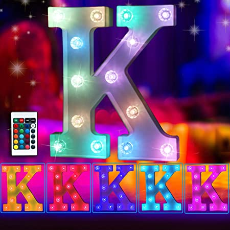 Elnsivo 16color Changing LED Marquee Letter Lights Lighted Colorful 26Alphabet Letter with Remote Control Multicolor Letter Lamp for Wall Wedding Party Christmas Home Bar Decoration(RGB Letter K)