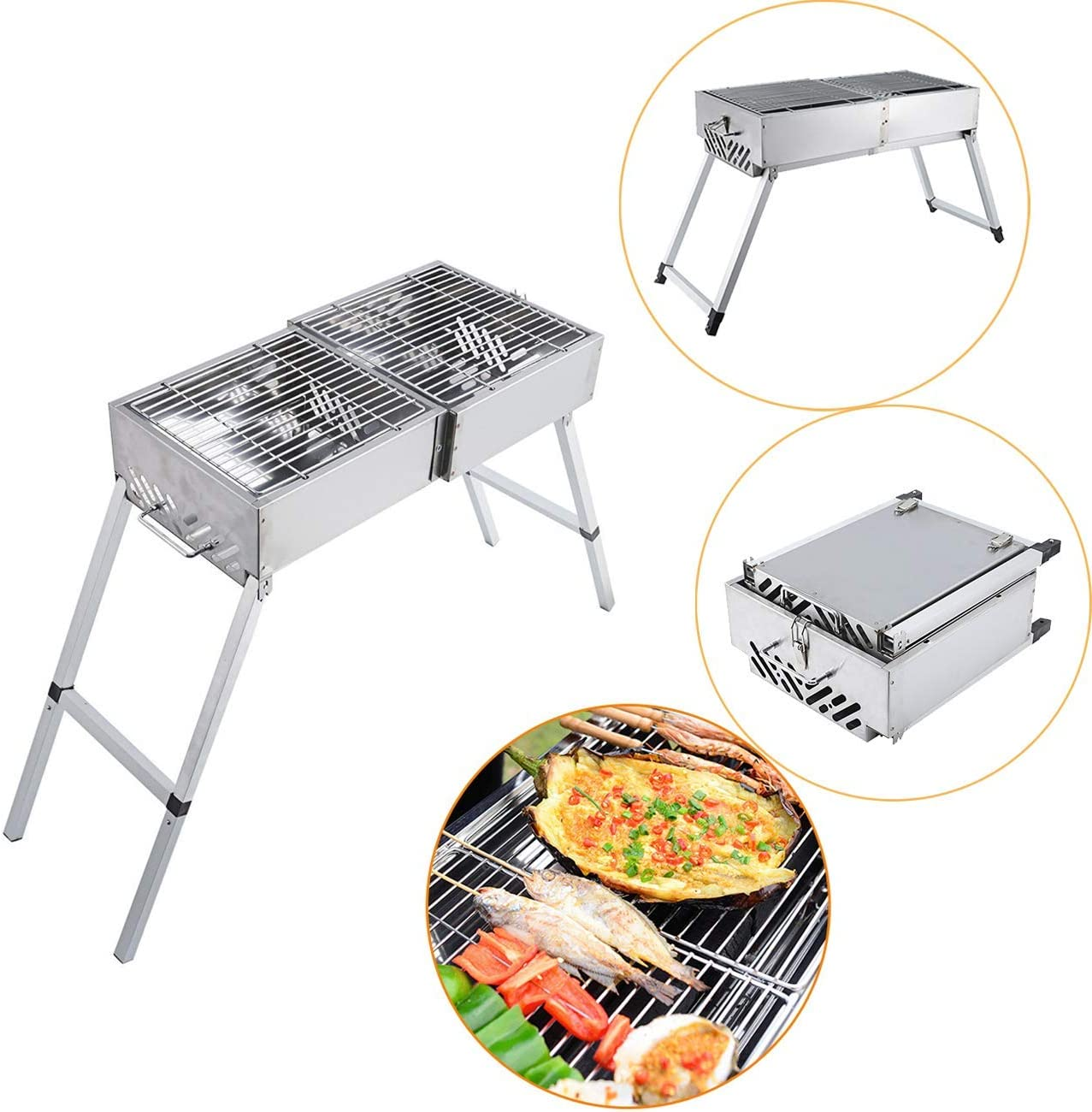 BEAMNOVA 24 Inch Charcoal BBQ Grill for Portable Barbeque Grill with Handle Feet Extensions Foldable Stainless Steel Mesh for Outdoor Camping Vegetables Burgers Fish Shrimp Steaks