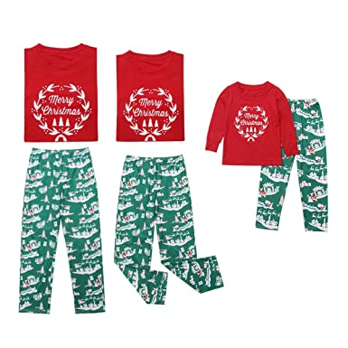 d6885c157a Merry Christmas Family Matching Pajamas Sets Top Santa Claus Tree Pant Christmas  Pj for Family at Amazon Men s Clothing store