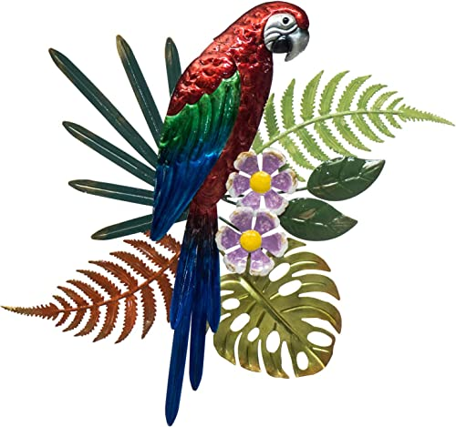 Parrot Metal Wall Decor – Hand Painted Wall-hanging – 3D Design – Striking Wall D cor 14 x 17 – Indoor or Outdoor Covered Areas Home Art Decoration
