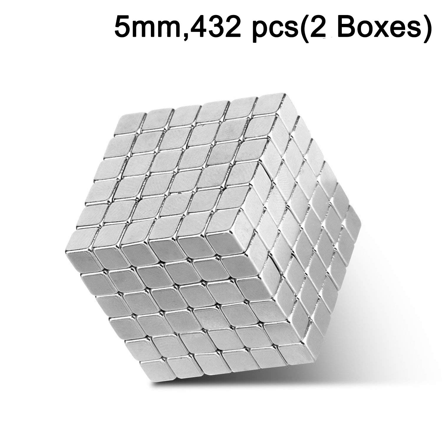 5mm Magnetic Fidget Blocks Square Ball, EVERMARKET Sculpture Toy for Intelligence Development, Stress Relief, a Great Toy for Office, Work, Home, and Everywhere - with Metal Gift box (432 pcs,2 boxes)
