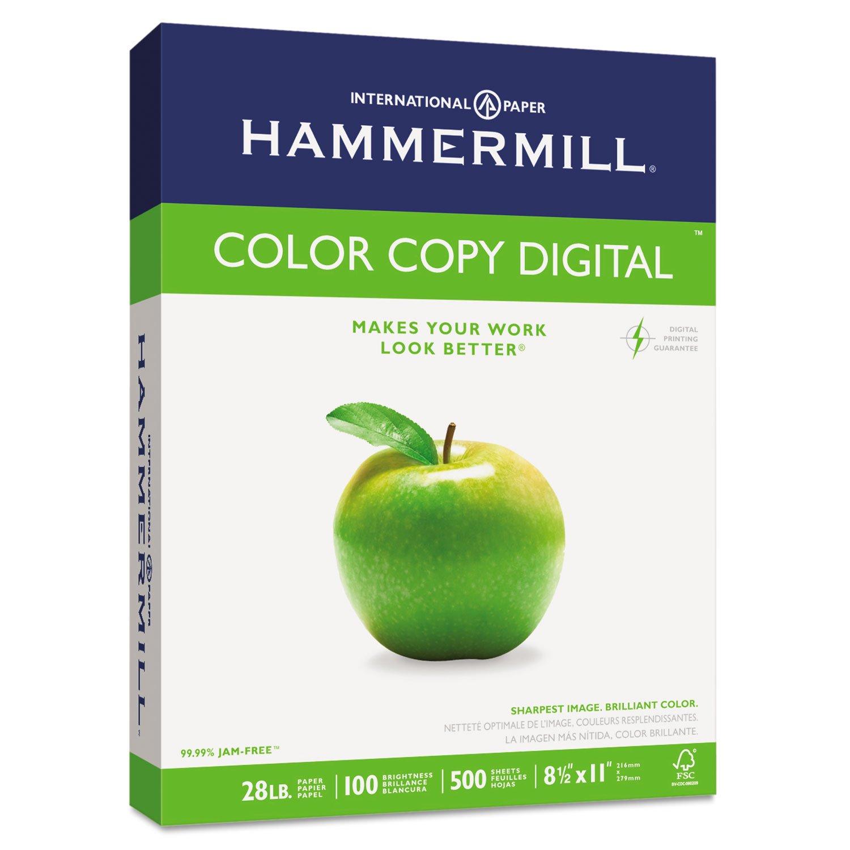 Hammermill 102467 Copy Paper, 100 Brightness, 28lb, 8 1/2 x 11, Photo White, 500/Ream