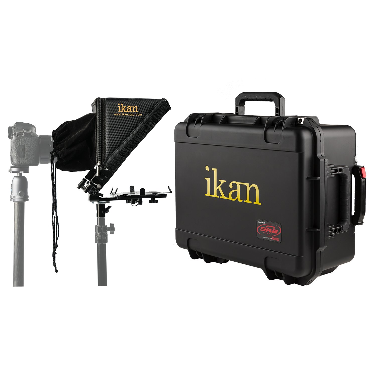 Ikan 22-inch Elite Tablet Teleprompter for Light Stands w/Rolling Case, Supports iPad, Android, and Windows Tablets, Foldable Glass Frame (PT-Elite-LS-TK) - Black by Ikan