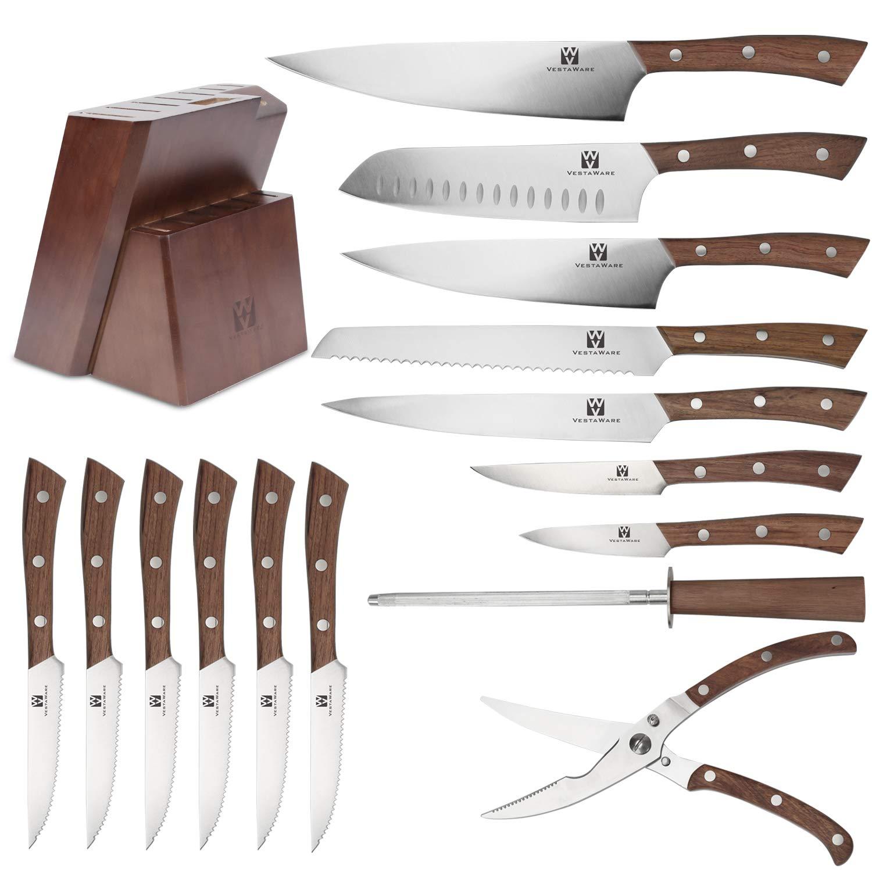 Vestaware Knife Set, 16-Piece Chef Knife Set with Wooden Block, StainlessSteel Kitchen Knives Set with Knife Sharpener, 6 Steak Knives and BonusScissors by Vestaware (Image #2)