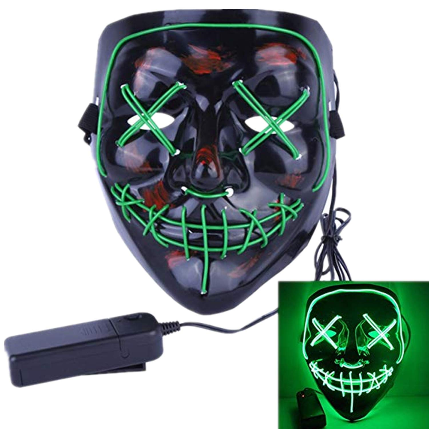 FZAY Halloween Mask LED Light up Purge Mask for Festival Cosplay Halloween Costume