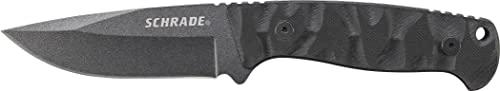 Schrade SCHF59 8.4in High Carbon Steel Fixed Blade Knife with 3.8in Drop Point Blade and G-10 Handle for Outdoor Survival, Camping and EDC