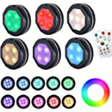 Puck Lights Battery Operated Under Cabinet Lighting,GANA 6 Pack Color Changing Puck Lights Under Cabinet Lighting Battery Pow